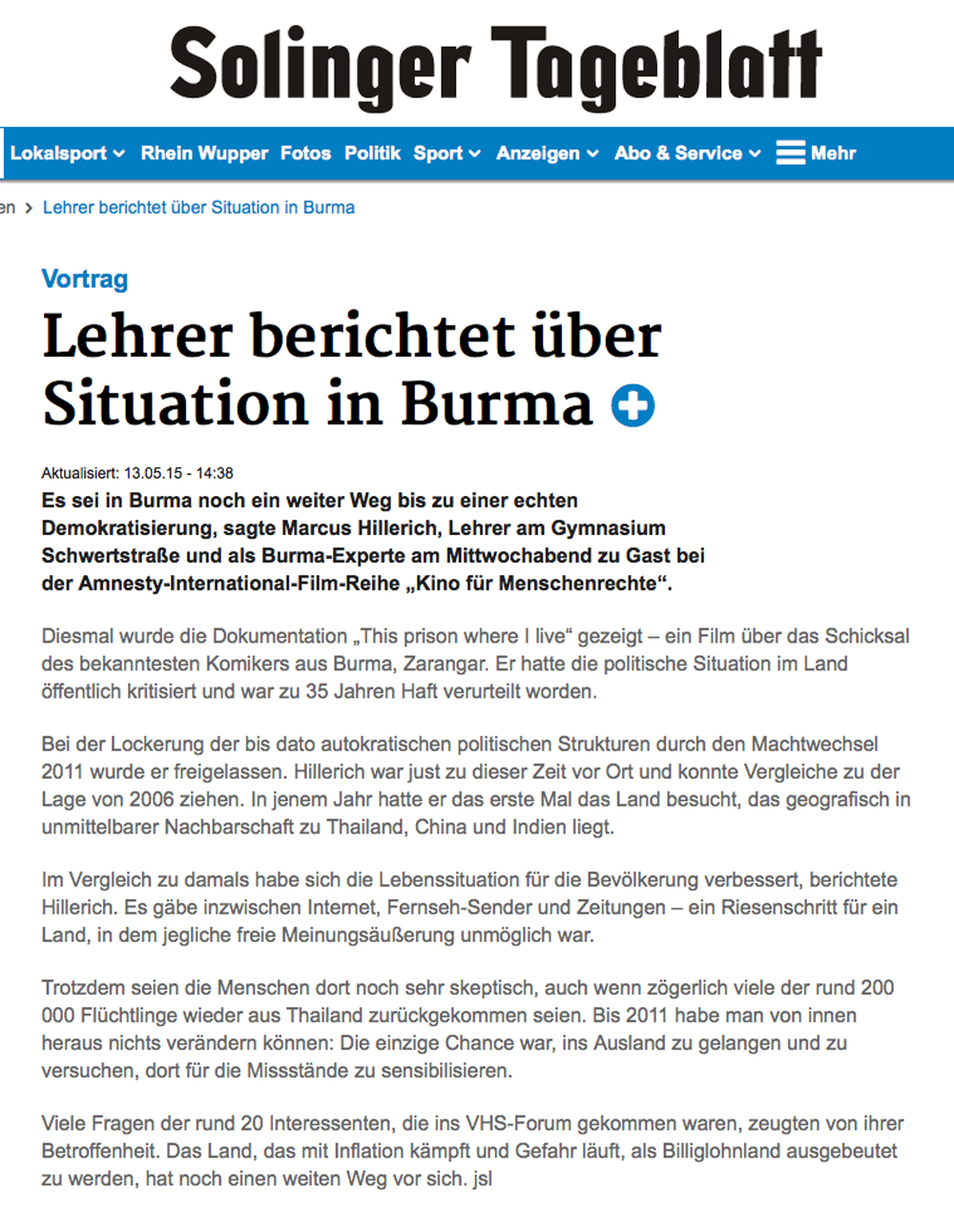 ST-Bericht über Burma